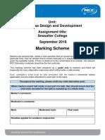 DDD Assignment Mark Scheme Autumn 2018
