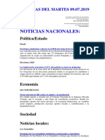 Noticias Del Martes 09.07.2019