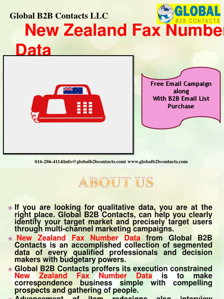 New Zealand Fax Number Data Global B2b Contacts Llc Marketing Computing