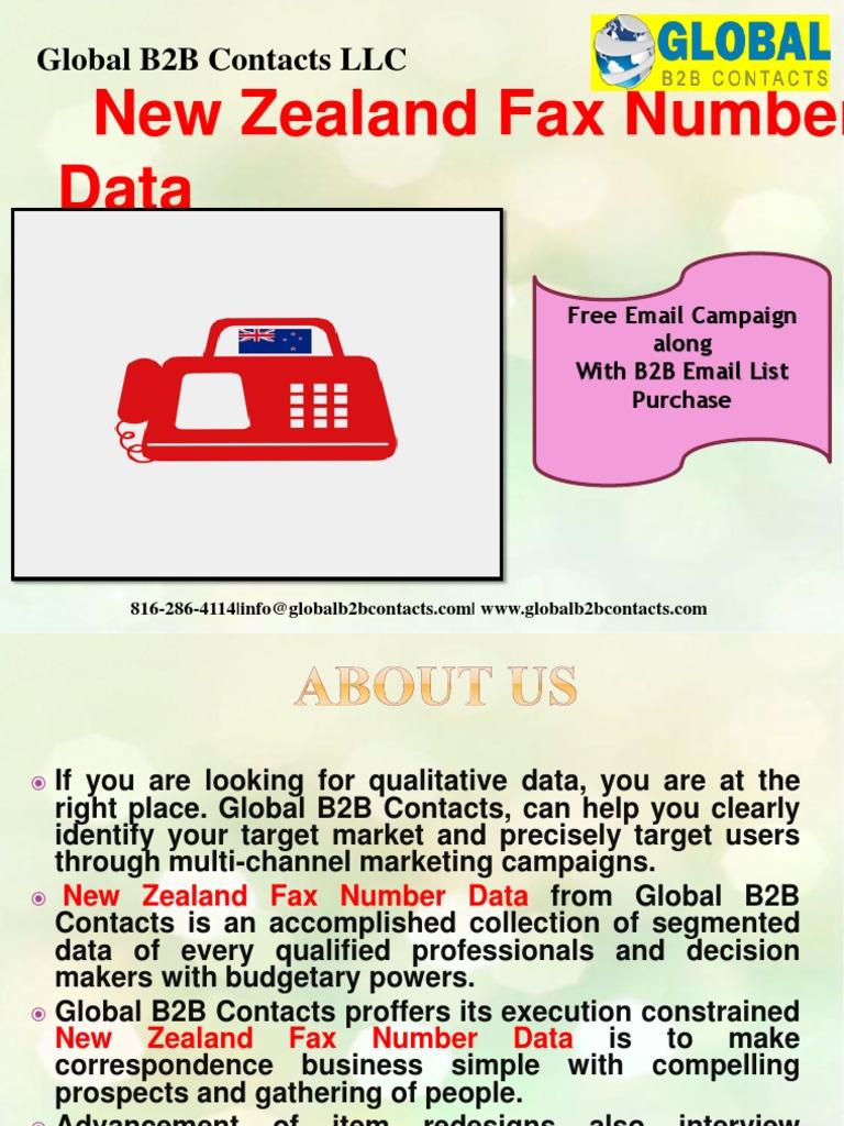 New Zealand Fax Number Data Global B2b Contacts Llc Marketing Computing