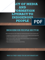 Impact of Media and Information Literacy to Indigenous