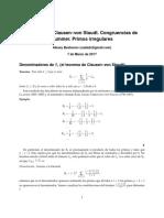 Teorema de Clausen–Von Staudt . Congruencias de Primos