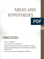 Variables and Hypotheses Report