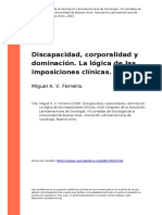 Miguel a. v. Ferreira (2009). Discapacidad, Corporalidad y Dominacion. La Logica de Las Imposiciones Clinicas