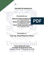 Práctica II.estudio Del Coeficiente de Frición en Canales.