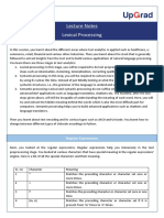 Lecture notes on Lexical Processing