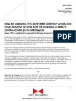 Bow Tie Cinemas, The Ashforth Company announce development of new Bow Tie Cinemas Ultimate cinema complex in Greenwich