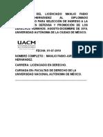 Licenciado Manlio Fabio Jurado Hernández. Inscripción al Diplomado Propedeutico Para La Maestria Derechos Humanos