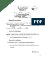 Examen de Thermodynamique-2018-2019