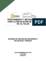 Procedimiento y Metodología Para Instalacion de Malla Por El Talud