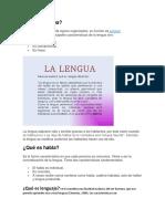 Qué Es Lengua