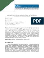 CRITÉRIOS DE AVALIAÇÃO TERMODINÂMICA PARA SISTEMAS DE COGERAÇÃO EM USINAS DE AÇÚCAR