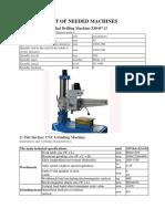 List of Needed Machines