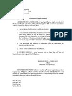 Affidavit of Employment - Fabricante