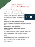 Apocrypha Jeremiah in Spanish Spain LIBROS APÓCRIFOS
