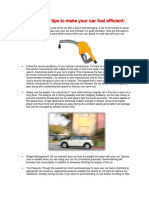 Tips to make your car fuel efficient....