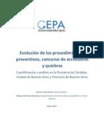 Evolucioìn de Los Concursos Preventivos de Acreedores y Quiebras CEPA