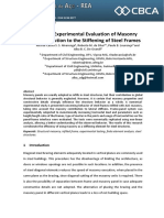 NumericExperimental Evaluation of Masonry Infill Contribution to the Stiffening of Steel Frames