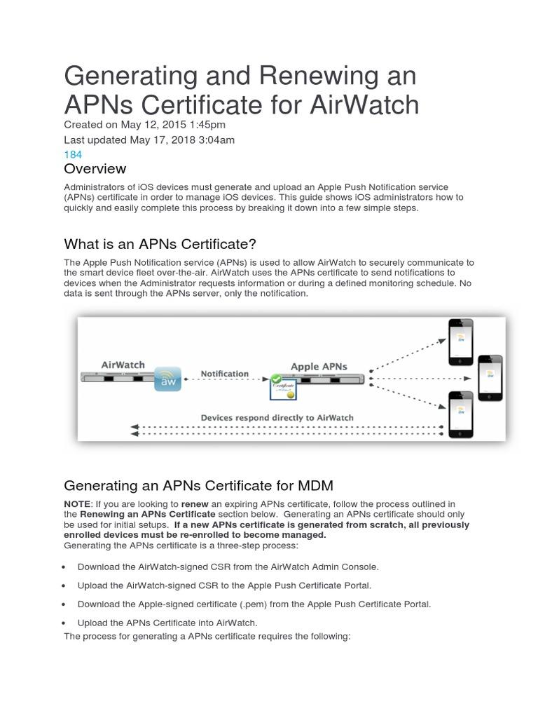 certificate apns airwatch