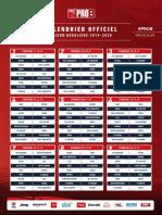 Calendrier de Pro B 2019-2020