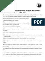 Procedimientos y Reglas Del i Torneo de Debate Expresarte Ica 2016