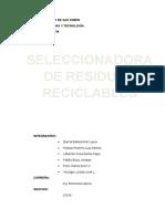 Proyecto Mecatronica de Una Máquina seleccionadora de residuos reciclables