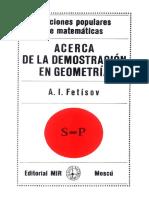Acerca de La Demostración en Geometría