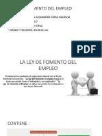 La Ley de Fomento Del Empleo