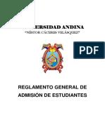 REGLAMENTO GENERAL DE ADMISION DE ESTUDIANTES