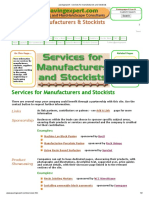 Services for Manufacturers and Stockists