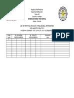 List of Identified and Saved PARDOs SARDOs