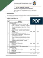 Especificaciones Epp
