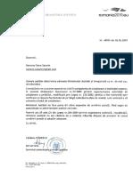 Răspunsul Ministerului Justiției pentru Ramona Săcărin