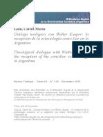 Gallina, Carlos María Dialogo Teologico con  Walter Kasper