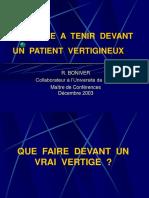 Conduite a Tenir Devant Un Patient Vertigineux (Decembre 200