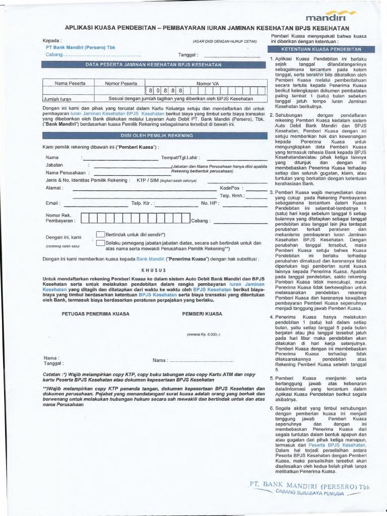 Surat Kuasa Autodebet Bpjs Bank Mandiri - PRAKERJA BPJS