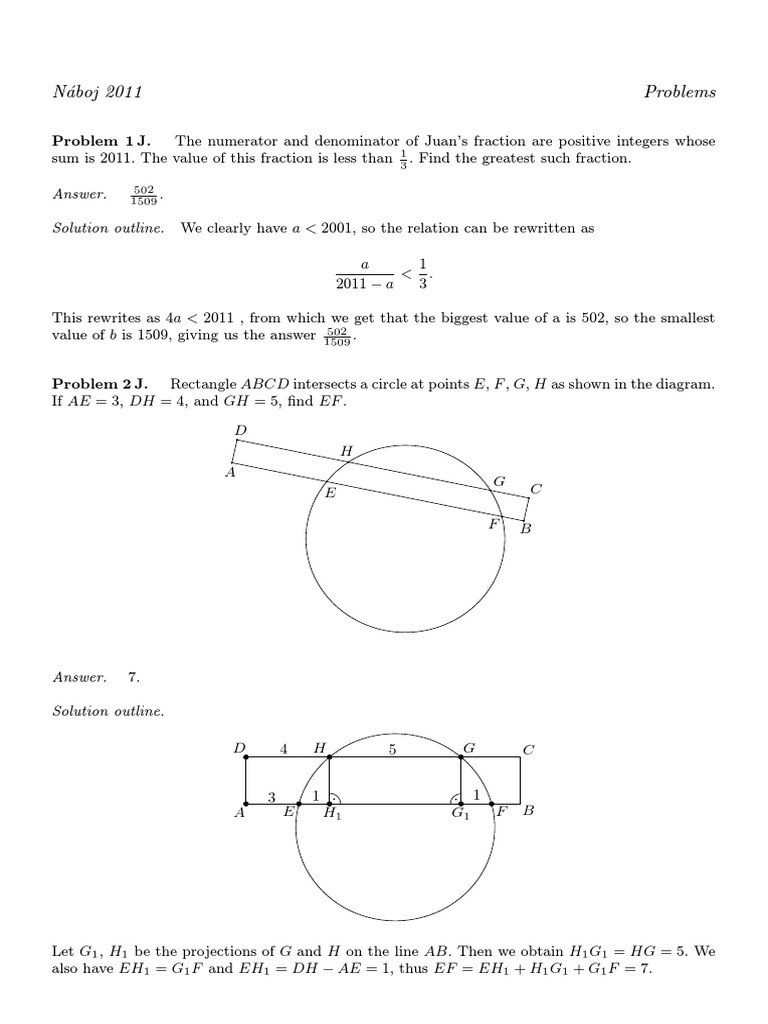 Mathematical Naboj 2011 19 En With Solutions Pdf Circle Triangle [ 1024 x 768 Pixel ]