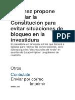 Sánchez propone cambiar la Constitución para evitar situaciones de bloqueo en la investidura