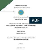 """Gestión Educativa y El Clima Laboral de La Institución Educativa Pública Nº 20066 """"Simón Bolívar"""