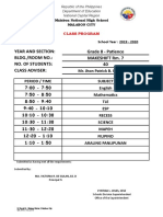Form 30 Class Program