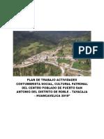 Plan de Trabajo Patronal del centro poblado Puerto San Antonio - Roble-Tayacaja-Hvca