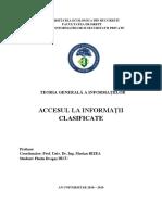 Accesul La Informaţii Clasificate