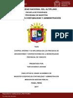 Tesis - Control Interno y su influencia en los procesos de adquisiciones y contrataciones de la MPY