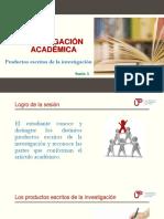 Sesión 3 PPT Productos Escritos de La Investigación
