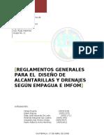 Reglamentos Generales Para El Diseño de Alcantarillas y Drenajes Segun INFOM