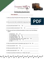 Pet Boarding Questionnaire
