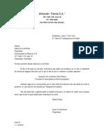 carta de confirmación de pedido