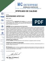 Certificado de Calidad. Inversiones Afer, Cretex, 26.4.2019