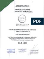 UNIDAD EJECUTORIA 406 RED DE SALUD HVCA CAS N°004-2019 CONTRATACION ADMINISTRATIVO DE SERVICIO N°004-2019/RS-HVCA/CES-CAS CUARTA CONVOCATORIA