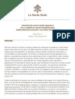 Derechos Sociales y Doctrina Franciscana. Discurso P. Fco. 2019